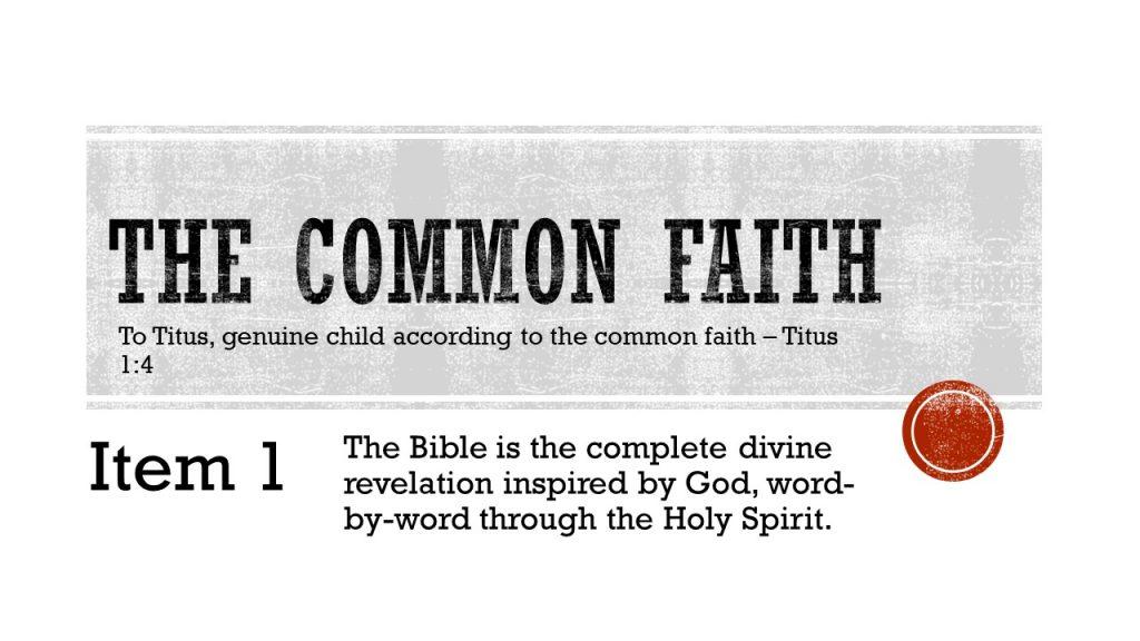 The Common Faith - Item 1